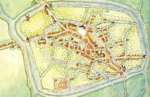 Aardenburg in rond 1560 door Jacob van Deventer