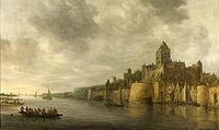Gezicht op de Waal door Jan van Goyen in 1641