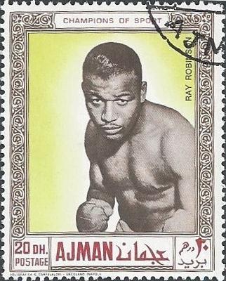 Sugar Ray Robinsonin 1969 op een postzegel van Aman