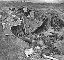 Overblijfselen van een Duitse machinegeweerpost tijdens van de slag bij de Somme