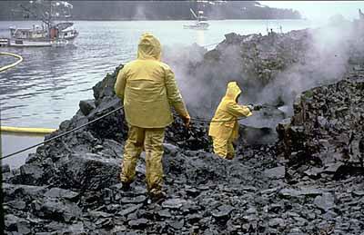 Reinigingswerkzaamheden na de ramp met de Exxon Valdez