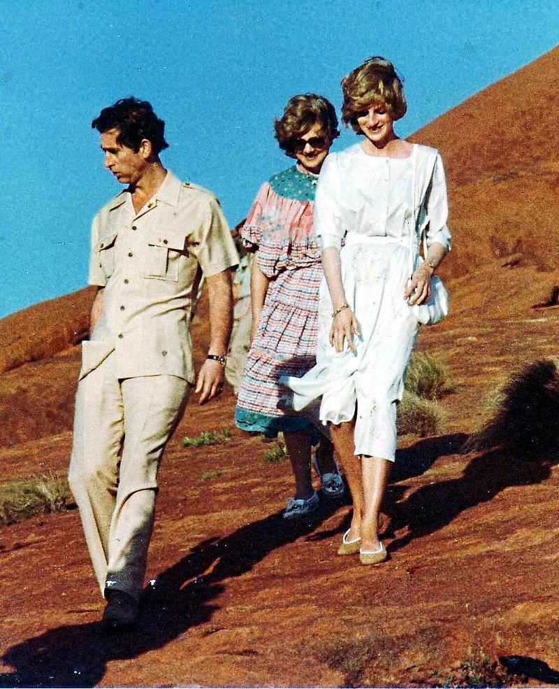 Charles en Diana in Uluru (Ayers Rock), Australië, 1983