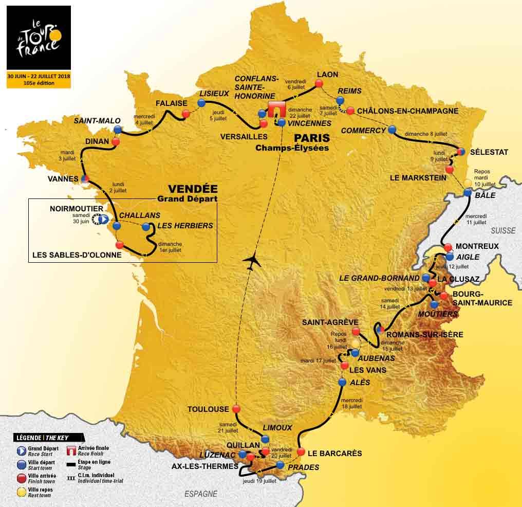 Kaart Tour de France 2018