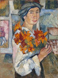Zelfportret met gele lelies (1907)