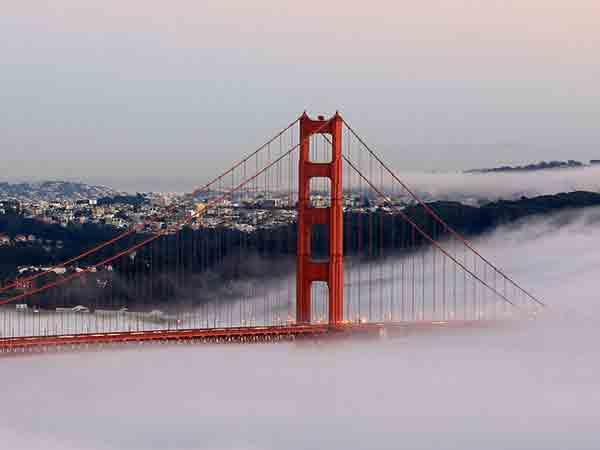 Beroemdste brug ter wereld is de Golden Gate Bridge in San Francisco
