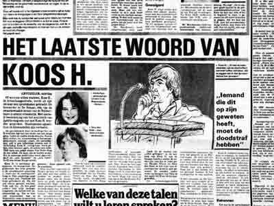100 grootste criminelen van Nederland; Seriemoordenaar Koos H. - Bron: De Telegraaf 2 januari 1982