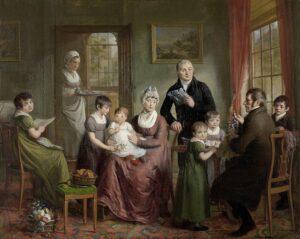 De familie van Adrianus Bonebakker met Dirk L. Bennewitz (1809) - Adriaan de Lelie