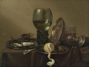 Willem Claeszoon Heda - Stilleven met oesters, roemer, citroen en een zilveren pronkschaal