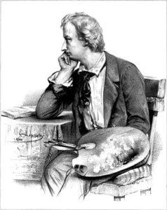 Portret van Ary Scheffer (door Emile Lassalle, 1840)