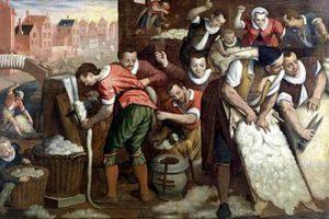 Isaac van Swanenburg - De wolbereiding, 1595