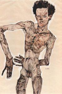 Egon Schiele - Männlicher Akt, Selbstporträt (1910)