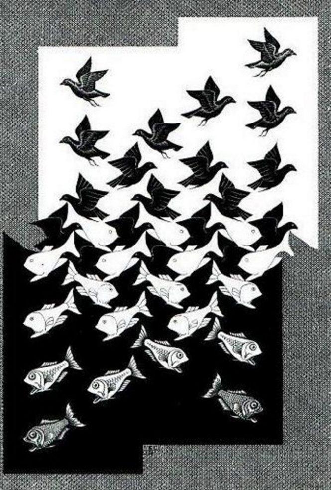 Lucht en Water - M.C. Escher