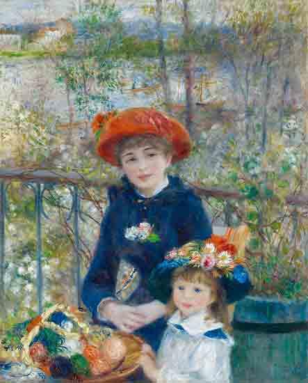 bekendste schilderijen van Auguste Renoir - Les Deux Soeurs sur la terrasse - Auguste Renoir (1881)