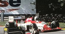 Danner in de Zakspeed F1 bij de training voor de grote prijs van Europa 1985