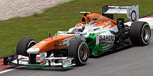 Sutil in de Force India nij de Grote Prijs van Maleisie in 2013