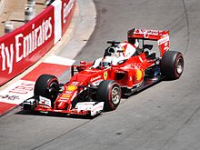 Vettel in de Ferrari SF16-H in Monaco 2016