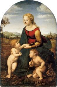Madonna en kind met Johannes de Doper/ Belle jardiniere (1507) - Rafaël