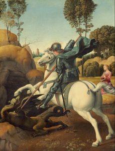 St. Joris vecht met de draak / San Giorgio e il drago (1506) - Rafaël