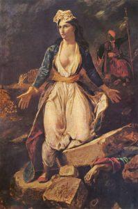 La Grèce sur les ruines de Missolonghi / Stervende Griekse op de ruïnes van Mesolongi (1826) - Eugène Delacroix