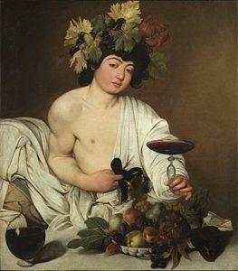 Bacchus, de god van de wijn en de vruchtbaarheid door Caravaggio
