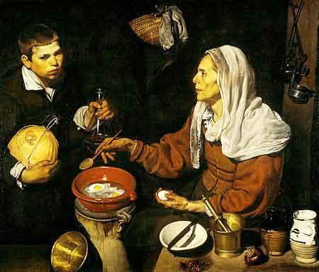 Vieja friendo huevos / Oude vrouwen bakken eieren (c. 1618) - Diego Velazquez