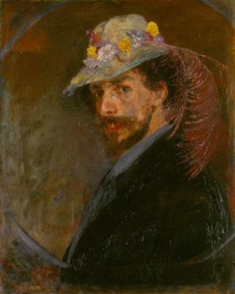 Zelfportret met bloemenhoed (1883) - James Ensor