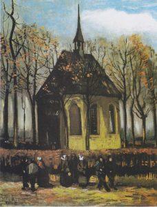 Het uitgaan van de Hervormde Kerk te Nuenen (1884-1885) - Vincent van Gogh