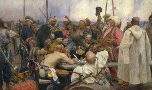Reply of the Zaporozhian Cossacks to the Sultan of Turkey / De Zaporozje-Kozakken schrijven de Turkse sultan een brief (1880-91) - Ilya Repin