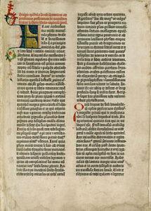De eerste bladzijde van de Gutenbergbijbel