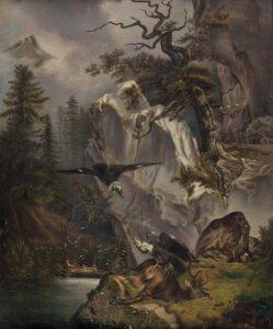 Friedrich Gauermann - Zwei Geier beim verendeten Hirsch (1832)