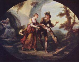 Miranda en Ferdinand in het toneelstuk De Storm (1782) - Angelika Kauffmann