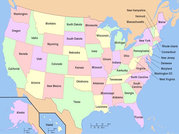 Grootste staten van de Verenigde Staten – inwoners en km2 – Top 50