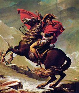 Napoleon trekt de Alpen over, geschilderd door Jacques-Louis David