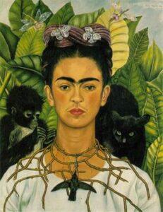 Zelfportret met doorneketting en kolibrie Self-Portrait with Thorn Necklace and Hummingbird (1940) - Frida Kahlo