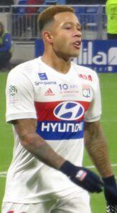 Depay in het shirt van Lyon, 2017