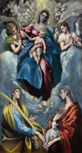 Madonna en kind met Sint Martina en Sint Agnes (1597 - 1599) - El Greco