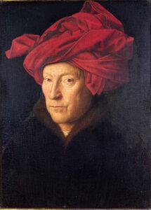 Portret van een man met rode tulband (1433) - Jan van Eyck