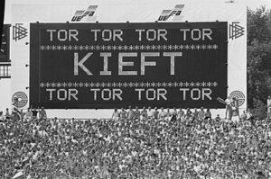 Scorebord met de goal van Kieft tijdens Nederland-Ierland op het EK 1988.