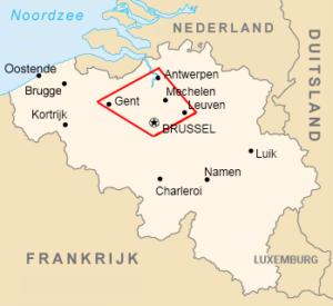 Kaart van de Vlaamse ruit binnen België
