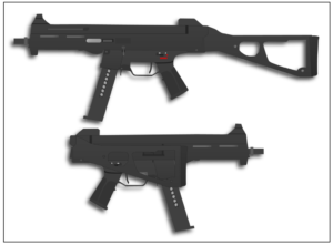 De HK45 met uitgeklapte en ingeklapte kolf