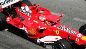 Michael Schumacher, de meest succesvolle Ferrari Formule 1 rijder in actie in Monaco in 2006