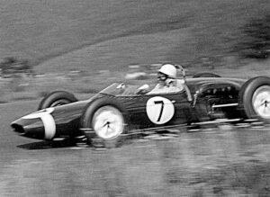 Stirling Moss in Rob Walker's Lotus 18 Grand Prix van Duitsland 1961